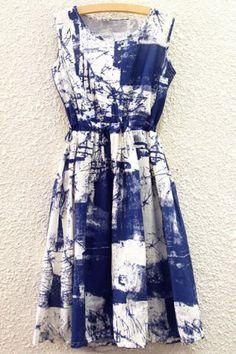 Brief Round Collar Tie Dye Tank Dress For Women