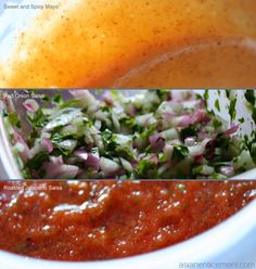 sauces for korean tacos: spicy mayo, red onion salsa & roasted jalapeño salsa