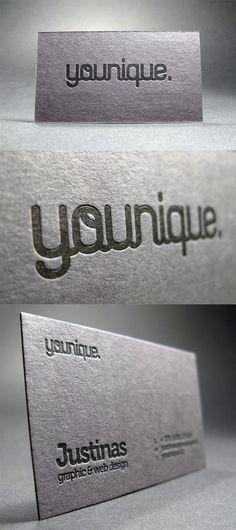 Creative Typography Black On Black Letterpress Business Card