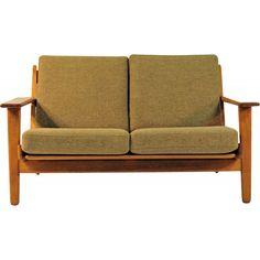Sofa vintage Model GE 2902 in Teak and Fabric by H. Wegner for GETAMA - 1960s