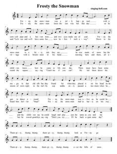Ambitious image throughout frosty the snowman sheet music free printable