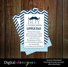 Boys baby shower bring a book insert card in by papercleverparty