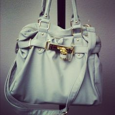 pale blue and gold bag