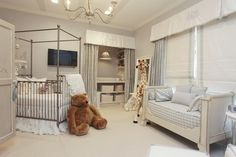 Adorable nursery..love the little closet...not sure about the flat screen tv, however.