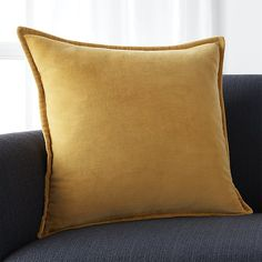 """Brenner Yellow 20"""" Velvet Pillow with Feather-Down Insert 
