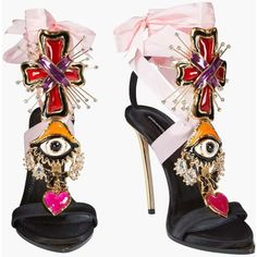 Lace Up Embellished Satin Sandals, Sandali Con Tacco Donna | Dsquared2... ($1,650) ❤ liked on Polyvore featuring shoes, sandals, satin shoes, laced up shoes, decorating shoes, lace up shoes and satin sandals