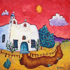 Bobby Lee Krajnik | 12 x 12 x 1.5 inches | oil on board | A little Southwestern church I made up in my imagination. www.bobbyleekrajnik.com Mini Canvas Art, Arte Popular, Tile Ideas, Day Of The Dead, Barns, Bobby, Imagination, Adobe, Arizona