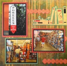 Portland Book Store scrapbook page with a great Bookshelf from Cricut's Wall Decor & More
