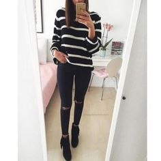 Striped round neck long-sleeved knit sweater