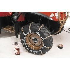 03  Older Honda TRX 350 FM Rancher 4x4 ATV VBar Tire Snow Chains Rear * You can get more details by clicking on the image.