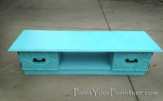 Vintage Coffee Table Makeover in Turquoise