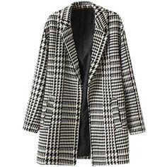 Lapel Houndstooth Woven Tweed Coat