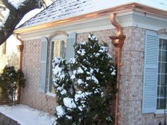 Siding, Roofing, and Gutter Solutions by Dan: Copper Gutters Copper House, Seamless Gutters, Copper Gutters, How To Install Gutters, Global Home, Exterior Paint Colors, Construction, Flat Roof, Metal Roof