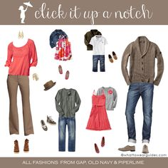 Deciding what to wear in family photos may be the hardest part. Use these examples to get your juices flowing to make the process a little easier.not the guys outfit Family Pictures What To Wear, Fall Family Photos, Family Pics, Family Photo Colors, Family Picture Outfits, Clothing Photography, Family Photography, Photography Guide, Babies Photography