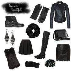 www.leonie-loewenherz.com   BLACK IS BEAUTIFUL  My favorite black clothing items and accessories for fall and winter:  boots, gloves, leather jackets, skirts, scarves, bracelets, bags,earrings and fake fur vests.  _ _ _ _ _  Meine liebsten Kleidungsstücke und Accessoires für Herbst und Winter:  Stiefel, Handschuhe, Lederjacken, Röcke, Schals, Armbänder, Taschen, Ohrringe und Fellwesten.