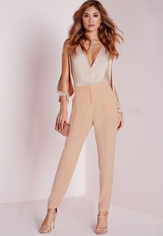 Missguided - Crepe Cigarette Pants Nude