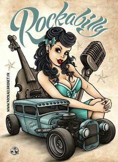 pin up rockabilly art - Buscar con Rockabilly Tattoos, Rockabilly Pin Up, Rockabilly Fashion, Rockabilly Artwork, Betty Boop, Up Auto, Garage Art, Pin Up Tattoos, Nose Art
