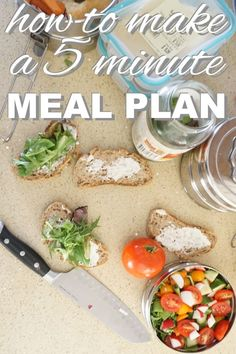 Meal planning is the key to eating healthy and preventing food waste. Find out how to make a 5 minute meal plan. It's quick, easy, and eco-friendly. Find out more on the zero waste blog http://www.goingzerowaste.com