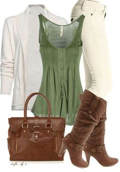 Fall outfit, green shirt, boots