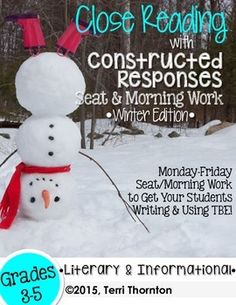 Close Reading Passages Seat Work {Winter}