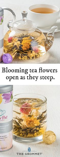"Make your tea mesmerizing. Blooming tea flowers open as they steep. And the ""tisanes"" are real dried lotus buds. Both are beautiful to behold, adding a unique floral flavor and aroma. These edible flowers look stunning, too."