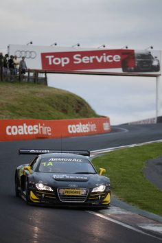 The Audi R8 LMS at the 2012 Bathurst 12-Hour Race. Phoenix Racing's no.1 Audi R8 LMS took the chequered flag.
