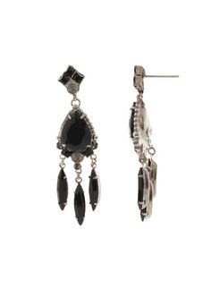 Marquise Cut, Beautiful Earrings, Black Onyx, Fashion Earrings, Antique Silver, Artisan, Drop Earrings, Stone, Crystals