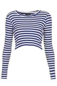 Long Sleeve Stripe Ribbed Crop Top - New In This Week - New In