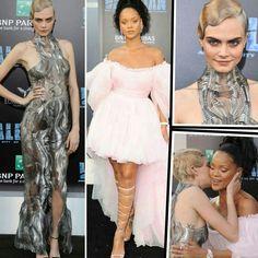 Boa tarde com as lindas inspirações da Cara Delevingne e da Rihanna para a pré-estreia de Valerian e a Cidade dos Mil Planetas, em Los Angeles. A Cara optou por um vestido metálico #irisvanherpen e produção retrô-futurista, com penteado icônico. Já a Riri, usou um vestido pink customizado by #giambattistavalli.️♥️✨ #glamourous #caradelevingne #rihanna #fashionstyle #inspirations #valerian #premiere #losangeles
