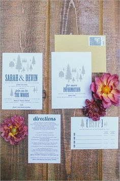 Wedding in the woods wedding invitation. Stationery: Hen & Co ---> http://www.weddingchicks.com/2014/05/16/bold-and-bright-diy-wedding/
