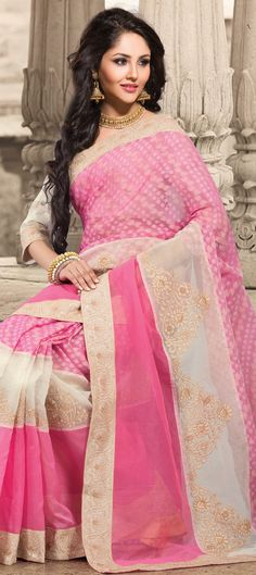 Buy Now : Rs. 3,100 /- http://www.indianweddingsaree.com/product/159029.html Pink and Majenta, White and Off White color family #Saree with matching unstitched #blouse.