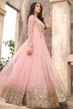 Light Pink Embroidered Net Anarkali Suit features a beautiful net top alongside a santoon bottom and inner. A chiffon dupatta completes the look. Embroidery work is completed with zari, thread, and stone. Bridal Anarkali Suits, Pakistani Bridal Dresses, Bridal Lehenga, Anarkali Lehenga, Designer Anarkali Dresses, Designer Dresses, Mode Bollywood, Bollywood Saree, Tight Dresses