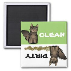Cute Maine Coon Cat Clean Dirty Dishwasher Magnet #cat #cats #kitten #catproducts