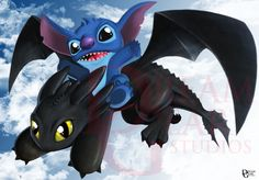Stitch and toothless, why..why not!! those two are just to cute!! Prints available at my Etsy shop, https://www.etsy.com/shop/DreamgearStudios?ref=l2-shopheader-name