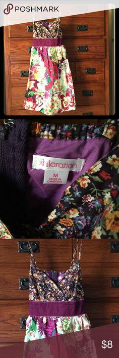 Fun & Flowery Sundress Multi-color, contrasting flower pattern with purple sash. Adjustable straps. Xhilaration Dresses Midi