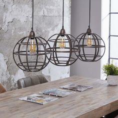 Vico Globe - hanglamp - 120 x 33 x 150 cm - antiek koper Graphisches Design, Interior Design, House Lamp, Suspension Metal, Tall Lamps, Rustic Lamps, Bedroom Lamps, Dining Room Design, Pendant Lamp