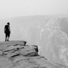 Taft point.  On the edge.   So peaceful...  🖤    #roadtrip #memories #yosemite #nationalpark #yosemitenationalpark #taftpoint #cliff #edge #blackandwhite #alonetime #travel #1picaday