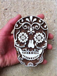 Skull Block Print by QueenAndSwan on Etsy, $39.50