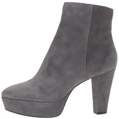 Alice + Olivia Adrian (Charcoal Prime Suede) Women's Shoes (91.725 HUF) ❤ liked on Polyvore featuring shoes, boots, ankle booties, ankle boots, thick heel booties, chunky heel booties, suede ankle booties, platform boots and suede booties