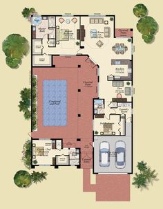 The inner, private courtyard. So all rooms have access to Nature's beauty & homeowner's creation Marvelous Spanish Courtyard House Plans - House Floor Plans With Courtyards U Shaped House Plans, U Shaped Houses, Pool House Plans, New House Plans, Dream House Plans, Small House Plans, House Plans With Courtyard, Interior Courtyard House Plans, Spanish Courtyard