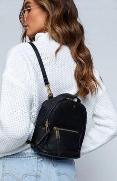 Peta & Jain Zoe Mini Back Pack Black – Beginning Boutique Mini Backpack Purse, Backpack Outfit, Small Backpack, Black Backpack, Leather Backpack, Fashion Backpack, Mini Mochila, Cute Mini Backpacks, Little Backpacks