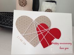 Our hearts bound together... Card for our anniversary. ❤️ #framelits #stampinup #su #card #papercrafting #inksandpieces