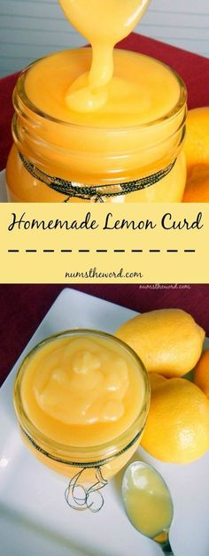 Desserts - The most amazing lemon curd you'll ever eat Smooth, creamy and oh so good! 6 ingredients, 25 minutes and you have a tasty treat that will make you happy! Makes a GREAT homemade Christmas gift! Lemon Desserts, Lemon Recipes, Just Desserts, Sweet Recipes, Delicious Desserts, Dessert Recipes, Yummy Food, Recipes Dinner, Potato Recipes