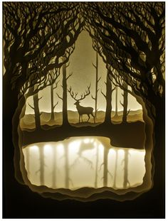 The Golden Stag. - Hari & Deepti are an artist couple who create paper cut light boxes. Each diorama is made from layers of cut watercolor paper placed inside a shadow box and is lit from behind with flexible LED light strips. Kirigami, Shadow Box Kunst, Shadow Box Art, Paper Cutting, 3d Paper, Paper Crafts, Paper Book, Licht Box, Paper Illustration
