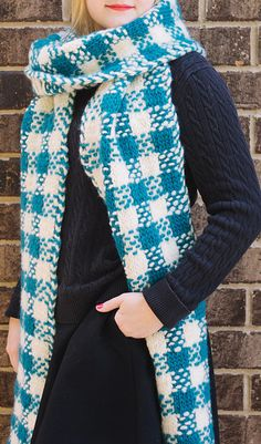 Free Knitting Pattern for Plaid Super Scarf - Easy slip stitch colorwork creates a classic plaid pattern. Size 1 foot by 10 feet. Designed by Heidi Gustad.