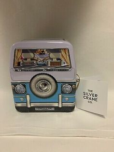 Made by the silver crane co. this is a really funky small tin and ideal for xmas to fill with sweets ideal for a van collector. Orange Tea Towels, Van Design, Small Tins, Box Houses, Tin Boxes, Metal Tins, Victorian Homes, Camper Van, Crane
