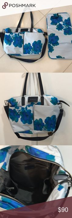 Marc Jacobs floral baby bag diaper bag blue Very good pre owned condition. Have been used twice. Nylon bag. The changing pad have never been used. Marc By Marc Jacobs Bags Baby Bags