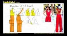 Portuguese site with illustrations showing how to alter a standard pant and bodice pattern to create this cute overall.