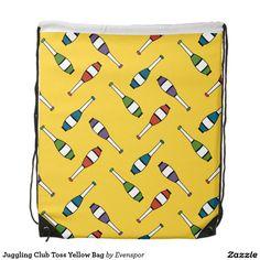 Juggling Club Toss Yellow Bag Drawstring Bag
