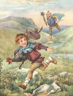 Illustration from 'Jack and the Beanstock' -- by A L Bowley (aka Ada Leonora Bowley, English, Kids Barn, Farm Boys, Fairy Tale Costumes, Jack And The Beanstalk, Vintage Fairies, Children's Book Illustration, Vintage Pictures, Nursery Rhymes, Illustrators